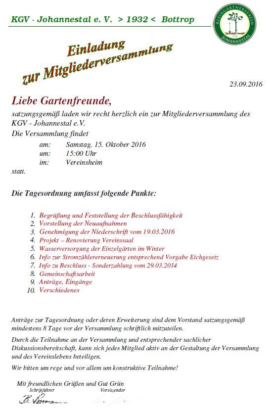 einladung zur mitgliederversammlung 2016 – kleingärtnerverein, Einladung